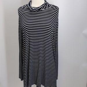 😁Mossimo black/white striped dress/cowl-sz XXL